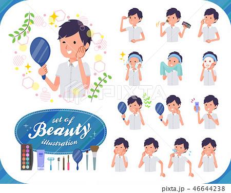 flat type White short sleeved men_beauty 46644238