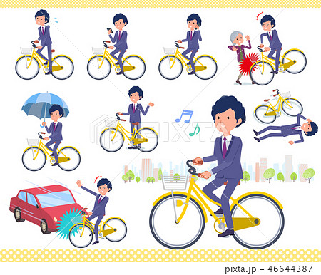 flat type blue suit curly hair men_city cycle 46644387