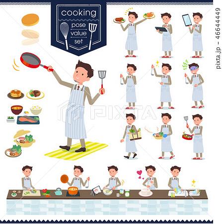 flat type Beige suit beard man_cooking 46644449