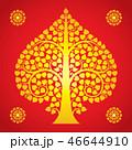 Thai Art Bodhi Tree on Red Background 46644910