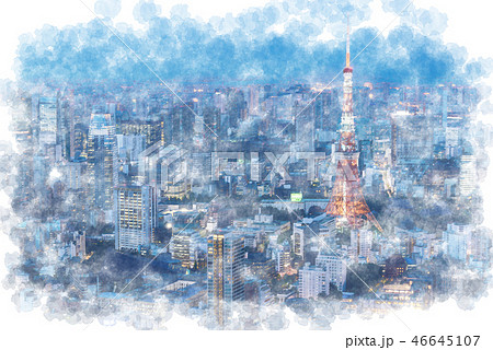 東京の夜景風景のイラスト素材