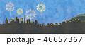 花火と街並みのイラスト 46657367