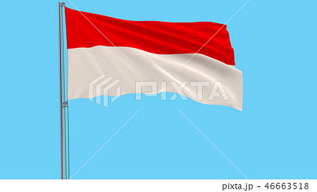 Isolate flag of Indonesia on a flagpole fluttering 46663518