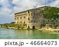 Old damaged by war fort in the Black Sea coast. Coastal Michael's fortress in Sevastopol, Crimea 46664073