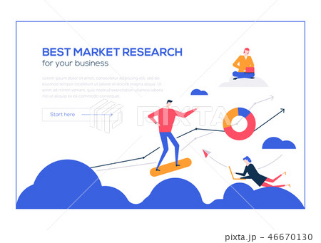 Best market research- flat design style colorful web banner 46670130