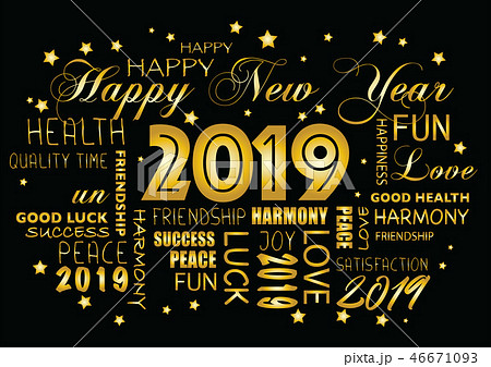 Happy New year 2019 greeting card 46671093
