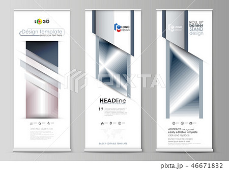 Set of roll up banner stands, flat design templates, business concept, corporate vertical vector 46671832