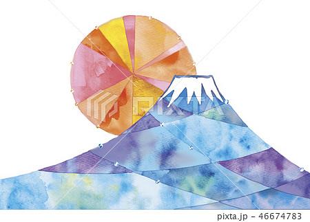 富士山と初日の出のイラストのイラスト素材 46674783 Pixta