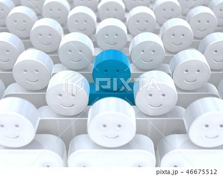 CG 3D イラスト 立体 デザイン アイコン マーク 人 少数派 不快 違和感 孤立 組織 自分 46675512