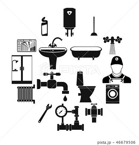 Sanitary engineering simple icons 46679506