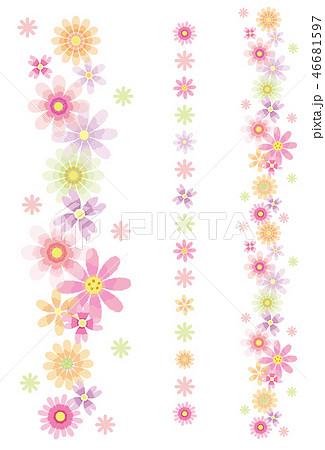 花のライン セット ポストカード 縦のイラスト素材 46681597 Pixta