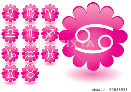 Pink flowers as zodiac icons 46688931