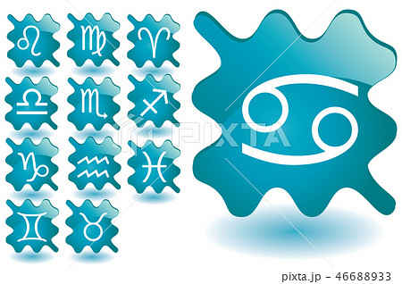 Blue glass blots as zodiac icons 46688933