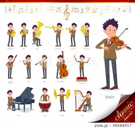 flat type school boy Brown Blazer_classic music 46688957