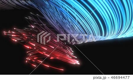 blue and red fiber optic strings in dark. 3d illustration 46694477