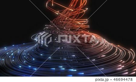 blue and orange fiber optic strings in dark. 3d illustration 46694478