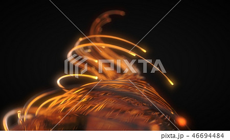 orange fiber optic strings in dark. 3d illustration 46694484