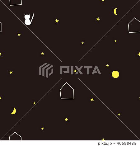 パターン 月と星とネコ 星空 ブラック 46698438