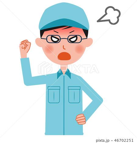 激怒する作業服の男性 上半身 46702251