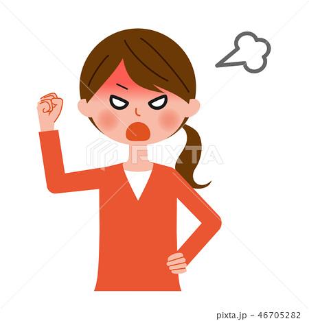 激怒する女性 上半身 46705282