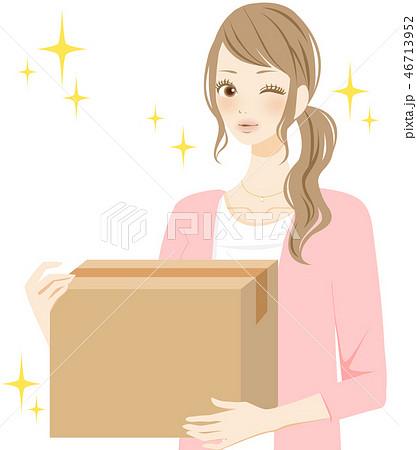 断捨離 不用品を処分する女性 段ボール 46713952