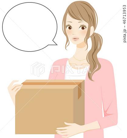 ダンボールを運ぶ女性 フキダシ 46713953