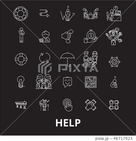 Help editable line icons vector set on black background. Help white outline illustrations, signs 46717023