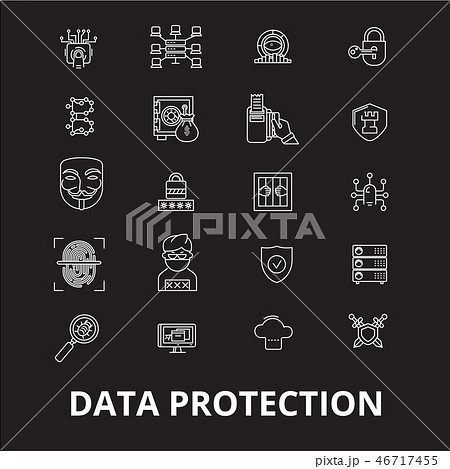 Data protection editable line icons vector set on black background. Data protection white outline 46717455