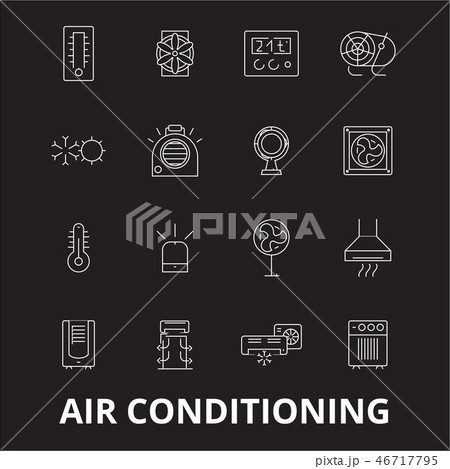 Air conditioning editable line icons vector set on black background. Air conditioning white outline 46717795