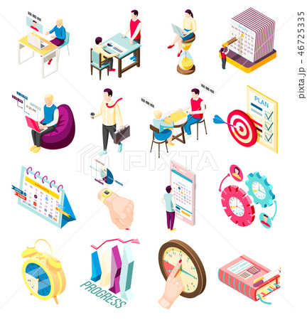 Isometric Management Icons Collection 46725335