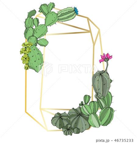 Vector Green cactus floral botanical flower. Engraved ink art. Frame border ornament square. 46735233