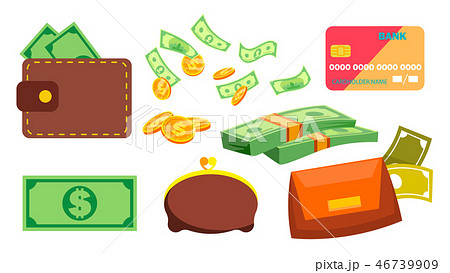 Wallet, Money, Coins Vector. Purse. Bill. Online, Ofline Payments. Isolated Flat Cartoon 46739909