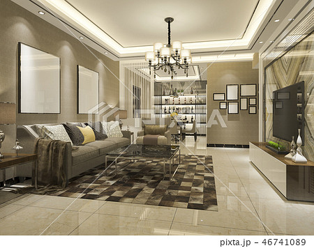 modern dining room and living room with luxury 46741089