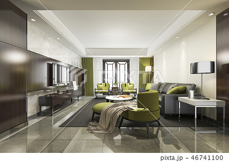 luxury and modern green  living room with sofa 46741100