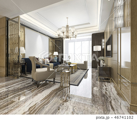 luxury classic living room with marble tile  46741102