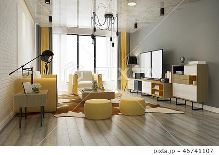 modern yellow living room with sofa 46741107