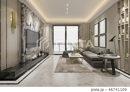 luxury classic living room with marble tile 46741109