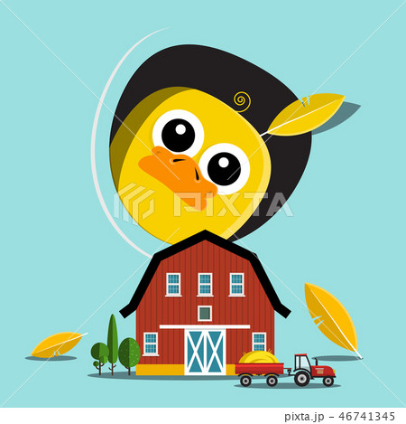Chicken with Barn and Tractor on Farm Vector 46741345
