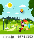 Happy woman in Red Dress and Parasol in City Park 46741352