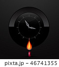 Clock Face on Black Background with Lit Candle 46741355