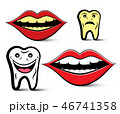 Cleaning Teeth Design with Yellow and White Teeth 46741358