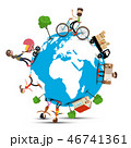 Globe - Earth with People - Vector 46741361