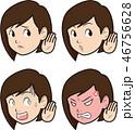 聞き耳 聞く 表情のイラスト 46756628