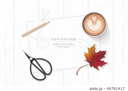 Flat lay top view elegant white paper composition 46761417