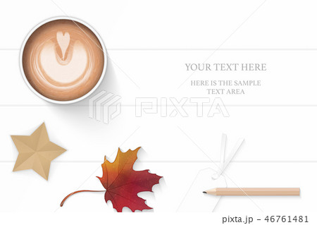 Flat lay top view elegant white paper composition 46761481