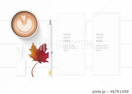 Flat lay top view elegant white paper composition 46761499
