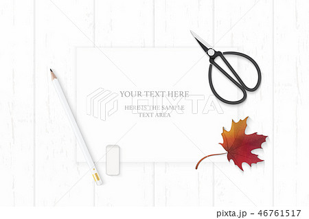 Flat lay top view elegant white paper composition 46761517