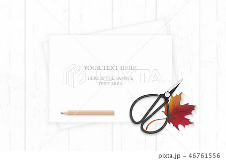 Flat lay top view elegant white paper composition 46761556