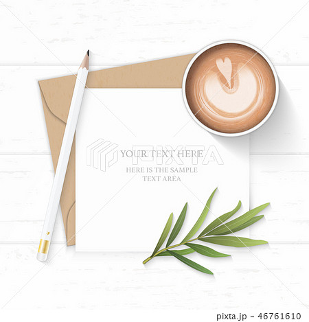 Flat lay top view elegant white paper composition 46761610