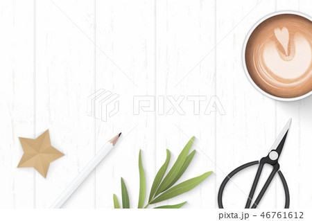 Flat lay top view elegant white paper composition 46761612